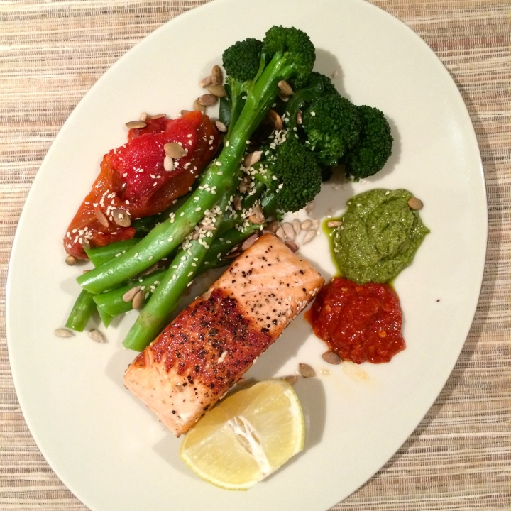 pan fried salmon with broccoli and home made dairy free pesto